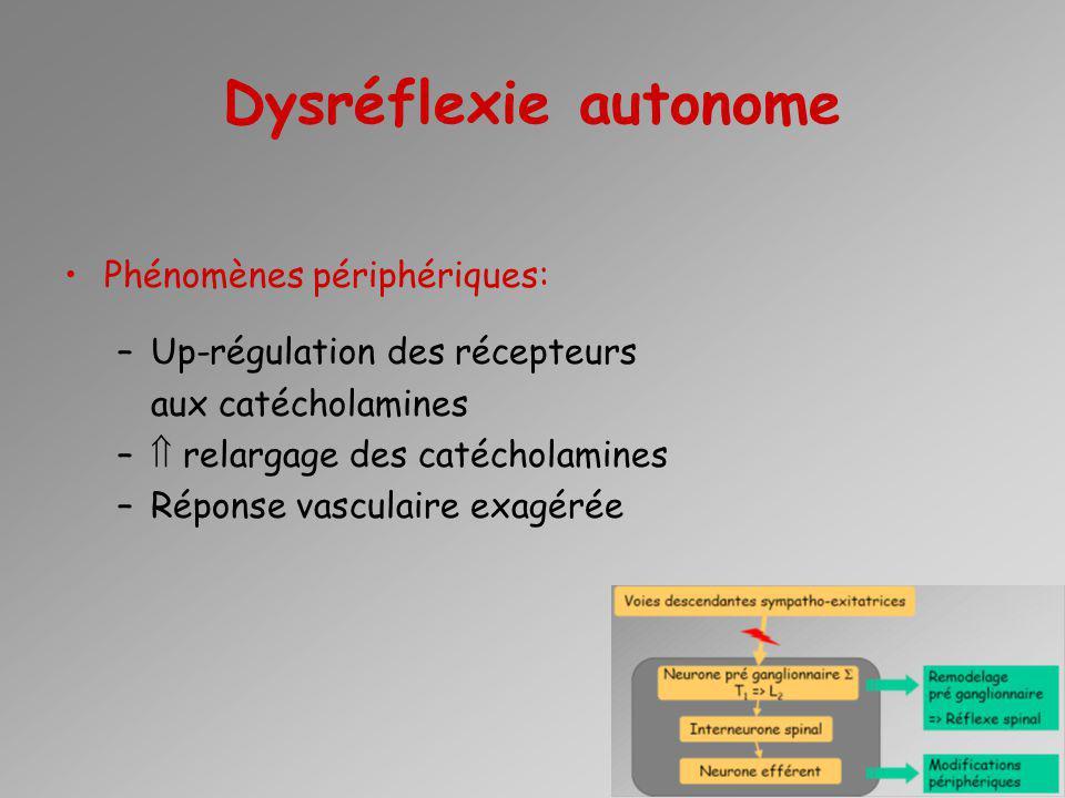 Dysréflexie autonome Phénomènes périphériques: –Up-régulation des récepteurs aux catécholamines – relargage des catécholamines –Réponse vasculaire exa