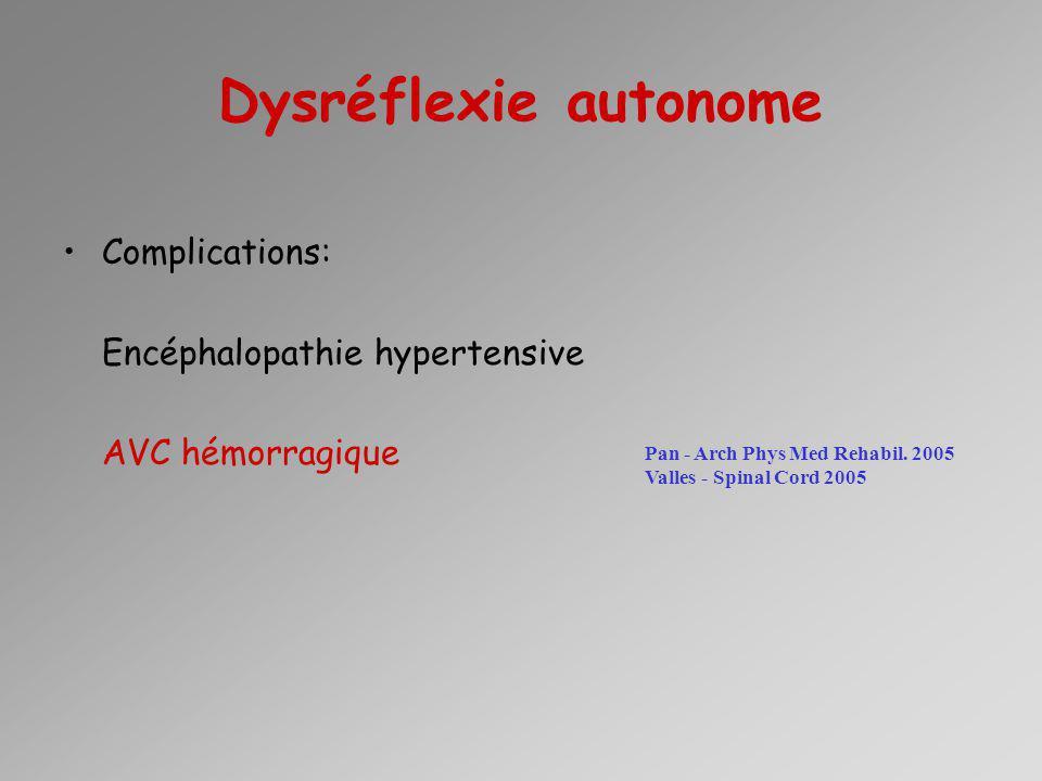 Dysréflexie autonome Complications: Encéphalopathie hypertensive AVC hémorragique Pan - Arch Phys Med Rehabil. 2005 Valles - Spinal Cord 2005