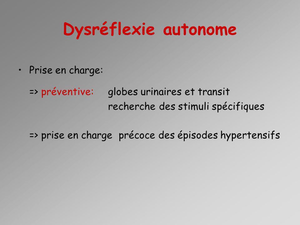 Dysréflexie autonome Prise en charge: => préventive: globes urinaires et transit recherche des stimuli spécifiques => prise en charge précoce des épis