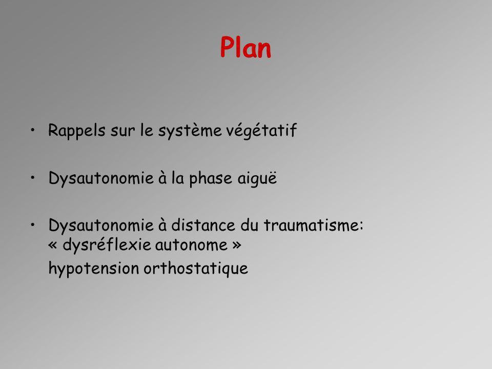 Plan Rappels sur le système végétatif Dysautonomie à la phase aiguë Dysautonomie à distance du traumatisme: « dysréflexie autonome » hypotension orthostatique