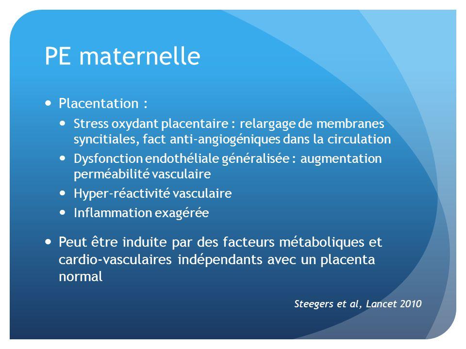PE maternelle Placentation : Stress oxydant placentaire : relargage de membranes syncitiales, fact anti-angiogéniques dans la circulation Dysfonction endothéliale généralisée : augmentation perméabilité vasculaire Hyper-réactivité vasculaire Inflammation exagérée Peut être induite par des facteurs métaboliques et cardio-vasculaires indépendants avec un placenta normal Steegers et al, Lancet 2010