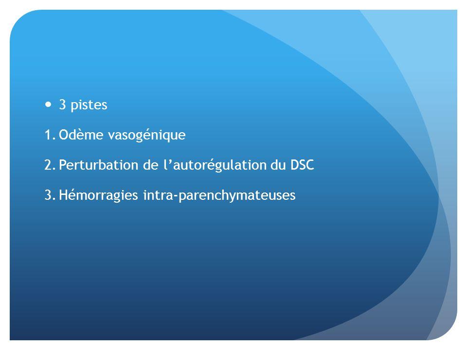 3 pistes 1.Odème vasogénique 2.Perturbation de lautorégulation du DSC 3.Hémorragies intra-parenchymateuses