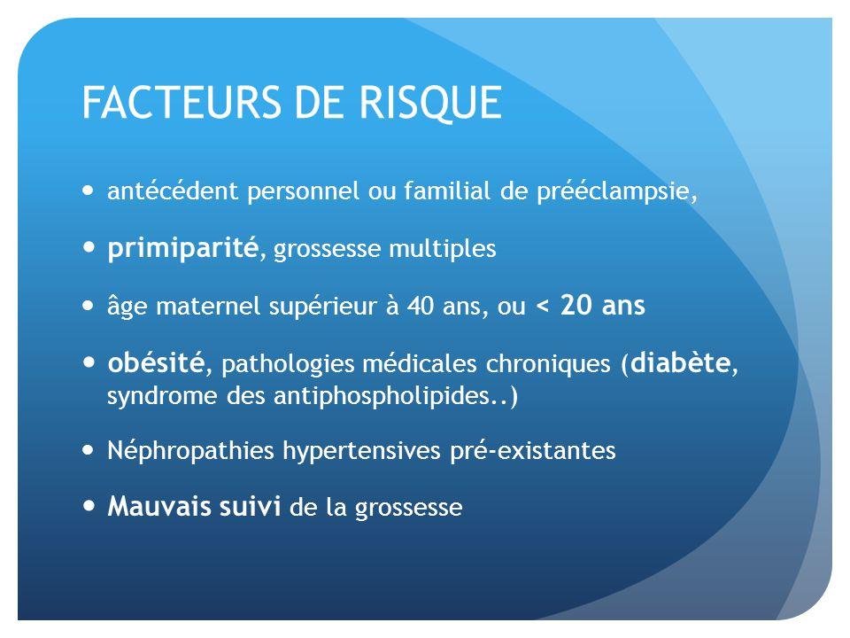 FACTEURS DE RISQUE antécédent personnel ou familial de prééclampsie, primiparité, grossesse multiples âge maternel supérieur à 40 ans, ou < 20 ans obé