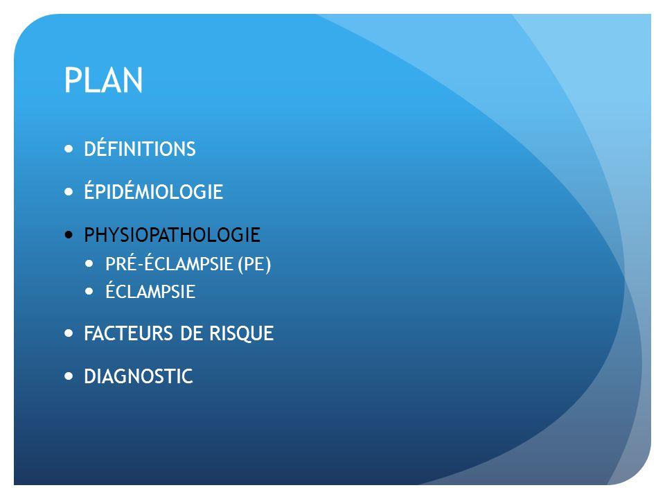 PLAN DÉFINITIONS ÉPIDÉMIOLOGIE PHYSIOPATHOLOGIE PRÉ-ÉCLAMPSIE (PE) ÉCLAMPSIE FACTEURS DE RISQUE DIAGNOSTIC