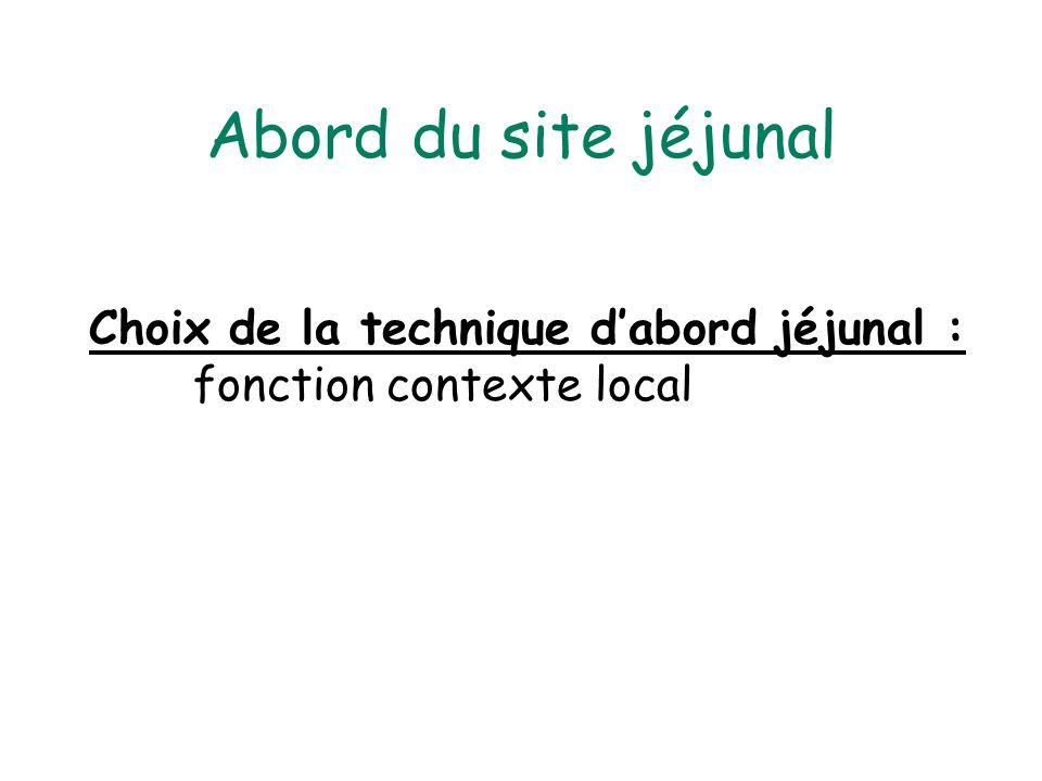 Abord du site jéjunal Choix de la technique dabord jéjunal : fonction contexte local
