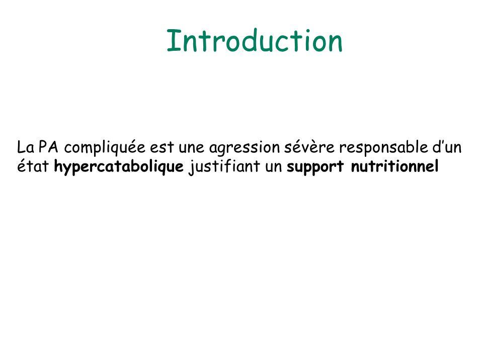 Introduction La PA compliquée est une agression sévère responsable dun état hypercatabolique justifiant un support nutritionnel