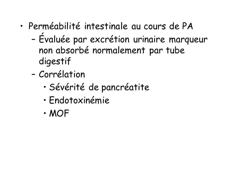 Perméabilité intestinale au cours de PA –Évaluée par excrétion urinaire marqueur non absorbé normalement par tube digestif –Corrélation Sévérité de pancréatite Endotoxinémie MOF