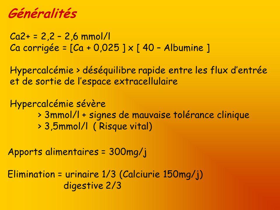 Généralités Ca2+ = 2,2 – 2,6 mmol/l Ca corrigée = [Ca + 0,025 ] x [ 40 – Albumine ] Hypercalcémie > déséquilibre rapide entre les flux dentrée et de s