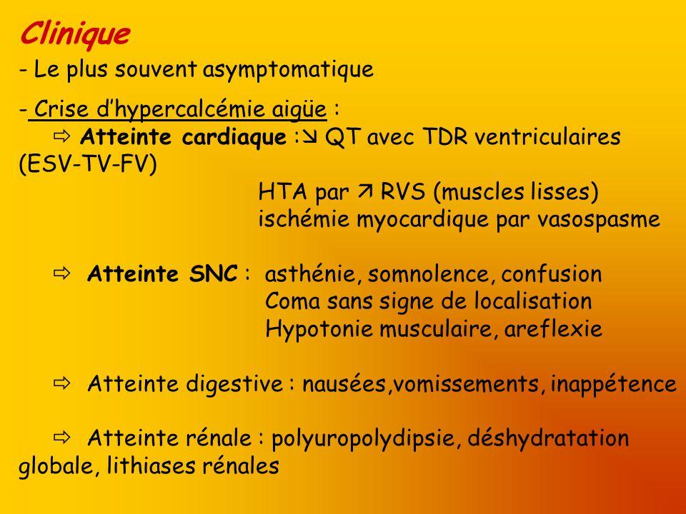 Clinique - Le plus souvent asymptomatique - Crise dhypercalcémie aigüe : Atteinte cardiaque : QT avec TDR ventriculaires (ESV-TV-FV) HTA par RVS (musc