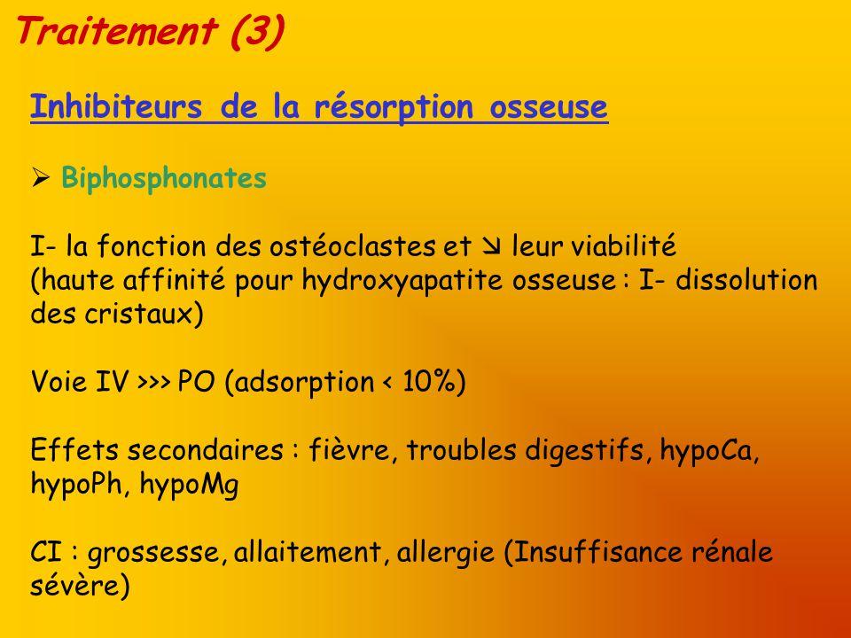 Traitement (4) - Etidronate (Didronel®) : non utilisé en urgence, plutôt en relais PO - Clodronate (Clastoban®, Lytos®) : 4-6 mg/Kg IVL (300mg/j) - Pamidronate (Aredia®) : 90 mg IVL - Acide ibandronique (Bondronat®) : 2 ou 4 mg IVL selon Ca Délivrance uniquement hospitalière - Acide zoledronique (Zometa®) : 4 mg IVL +/- 8mg
