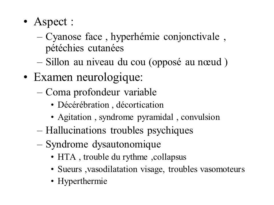 Aspect : –Cyanose face, hyperhémie conjonctivale, pétéchies cutanées –Sillon au niveau du cou (opposé au nœud ) Examen neurologique: –Coma profondeur