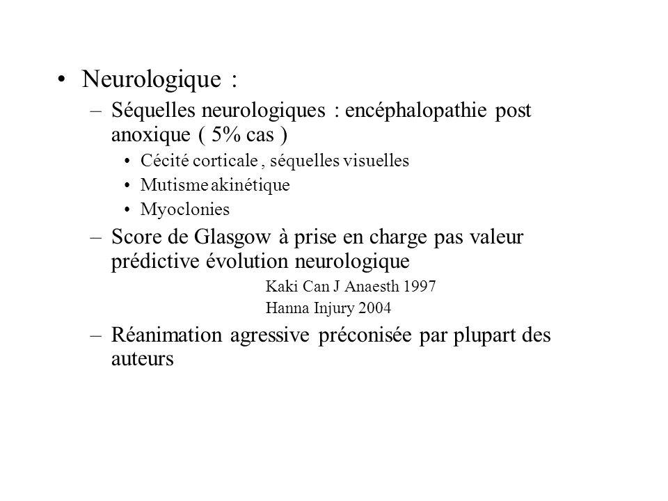 Neurologique : –Séquelles neurologiques : encéphalopathie post anoxique ( 5% cas ) Cécité corticale, séquelles visuelles Mutisme akinétique Myoclonies