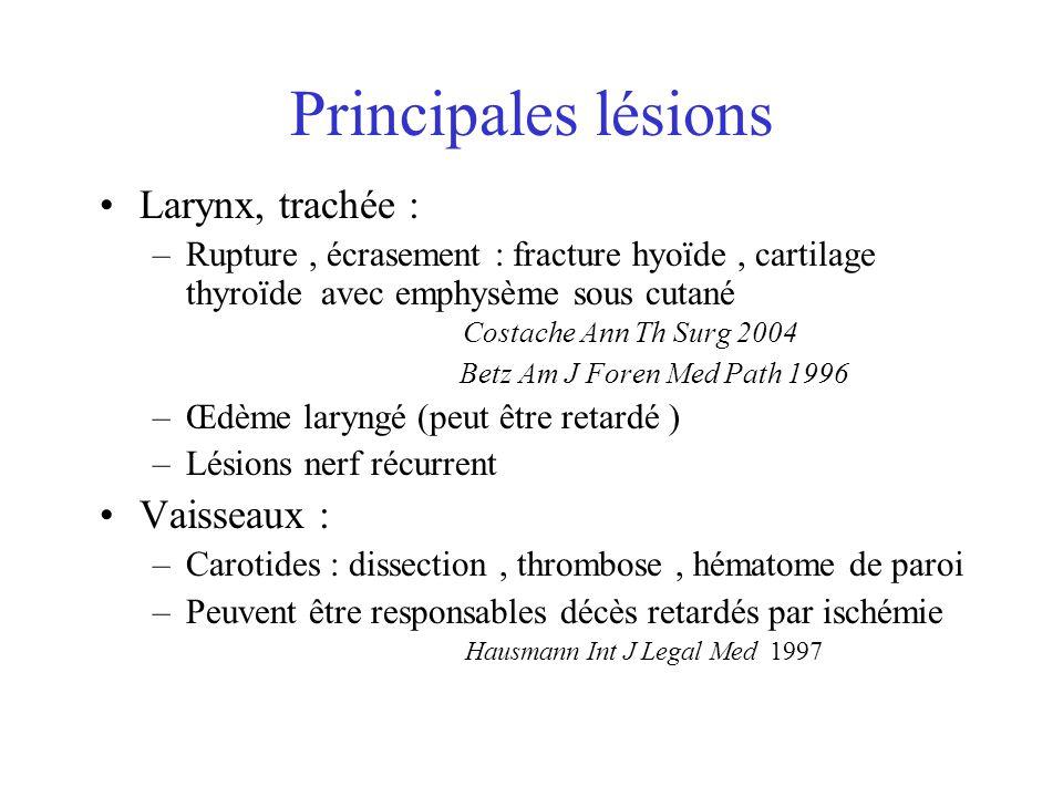 Principales lésions Larynx, trachée : –Rupture, écrasement : fracture hyoïde, cartilage thyroïde avec emphysème sous cutané Costache Ann Th Surg 2004