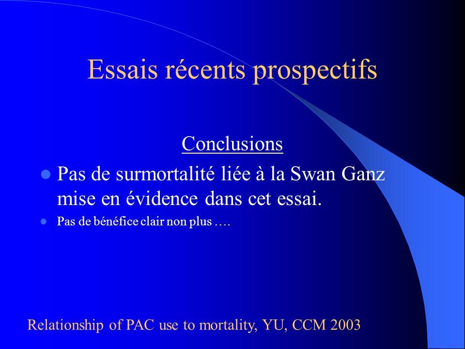 Conclusions Pas de surmortalité liée à la Swan Ganz mise en évidence dans cet essai. Pas de bénéfice clair non plus …. Relationship of PAC use to mort