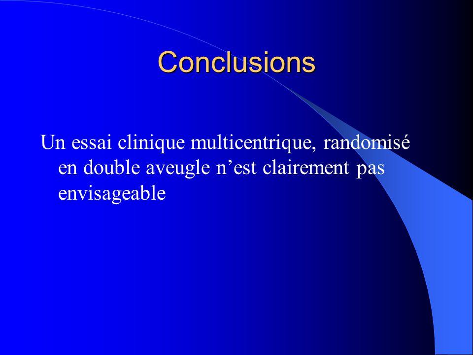 Conclusions Un essai clinique multicentrique, randomisé en double aveugle nest clairement pas envisageable