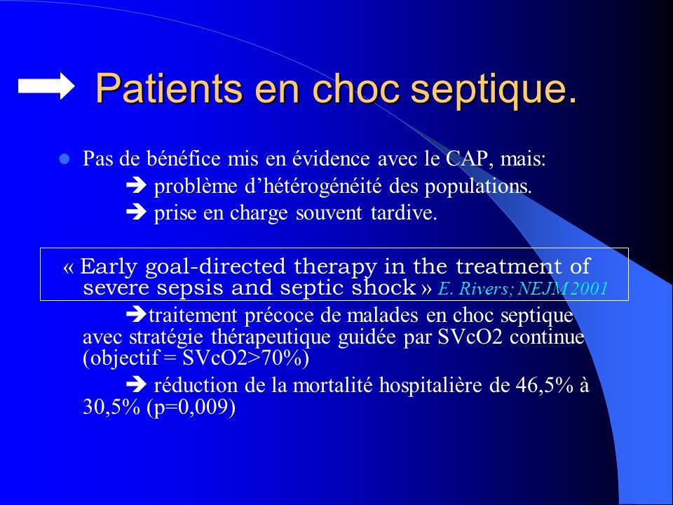 Patients en choc septique. Pas de bénéfice mis en évidence avec le CAP, mais: problème dhétérogénéité des populations. prise en charge souvent tardive