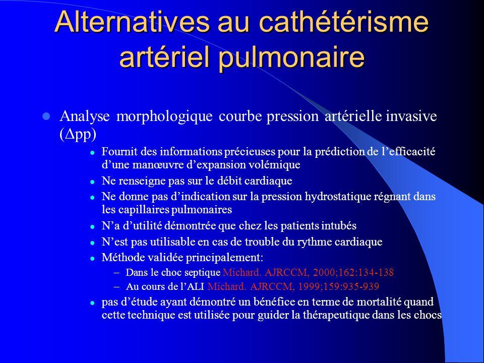 Alternatives au cathétérisme artériel pulmonaire Analyse morphologique courbe pression artérielle invasive ( pp) Fournit des informations précieuses p