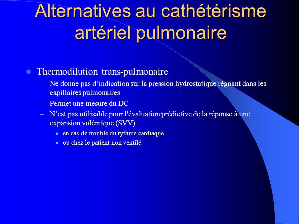 Alternatives au cathétérisme artériel pulmonaire Thermodilution trans-pulmonaire – Ne donne pas dindication sur la pression hydrostatique régnant dans