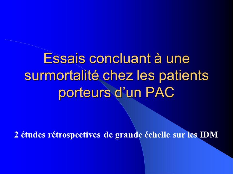 Essais concluant à une surmortalité chez les patients porteurs dun PAC 2 études rétrospectives de grande échelle sur les IDM