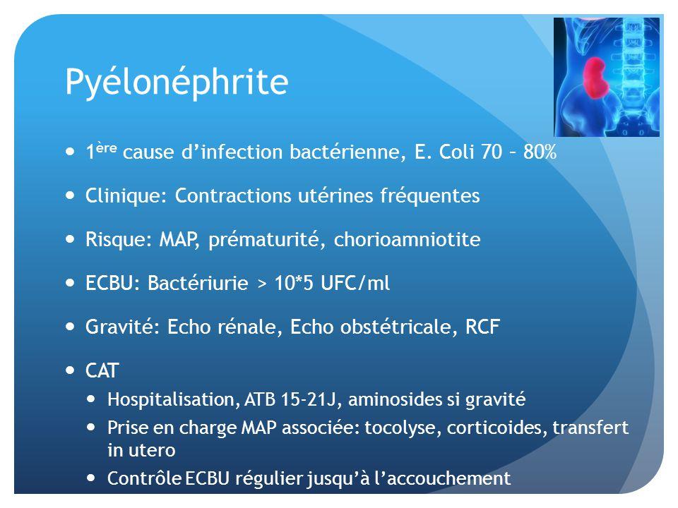 Pyélonéphrite 1 ère cause dinfection bactérienne, E. Coli 70 – 80% Clinique: Contractions utérines fréquentes Risque: MAP, prématurité, chorioamniotit