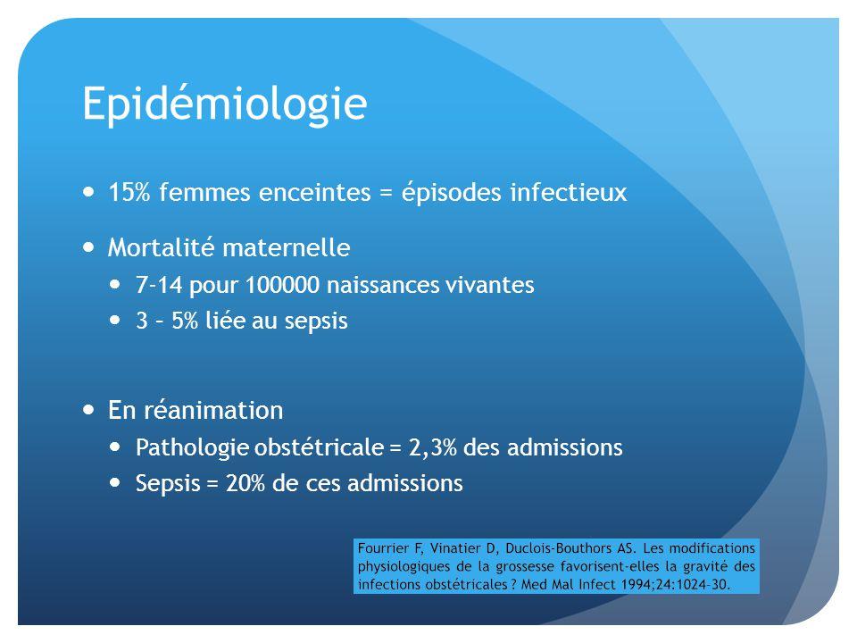 Epidémiologie 15% femmes enceintes = épisodes infectieux Mortalité maternelle 7-14 pour 100000 naissances vivantes 3 – 5% liée au sepsis En réanimatio
