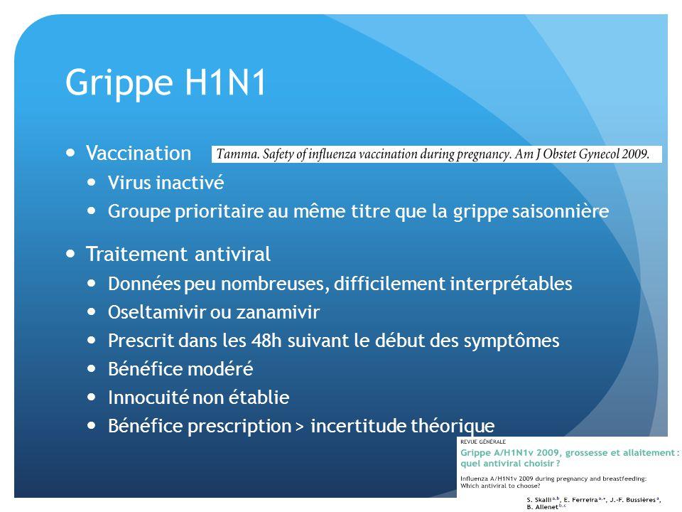 Grippe H1N1 Vaccination Virus inactivé Groupe prioritaire au même titre que la grippe saisonnière Traitement antiviral Données peu nombreuses, diffici