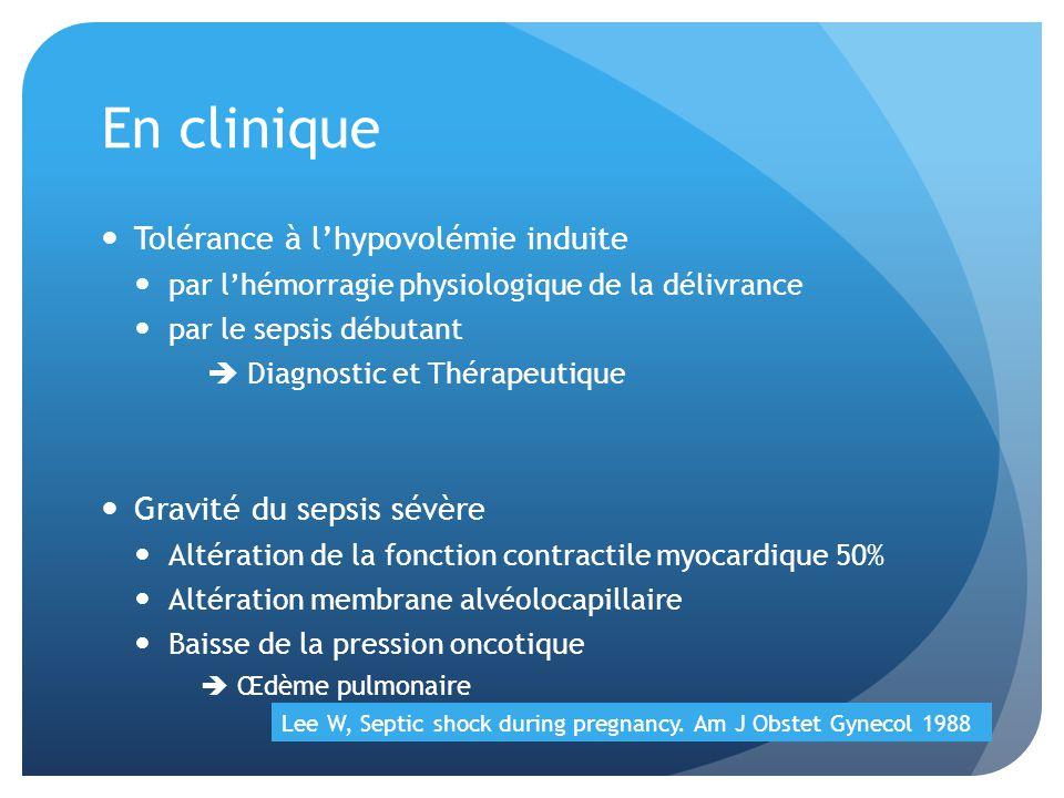 En clinique Tolérance à lhypovolémie induite par lhémorragie physiologique de la délivrance par le sepsis débutant Diagnostic et Thérapeutique Gravité