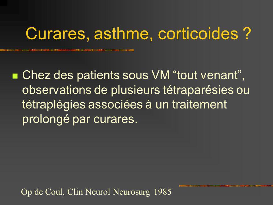 Chez des patients sous VM tout venant, observations de plusieurs tétraparésies ou tétraplégies associées à un traitement prolongé par curares. Op de C