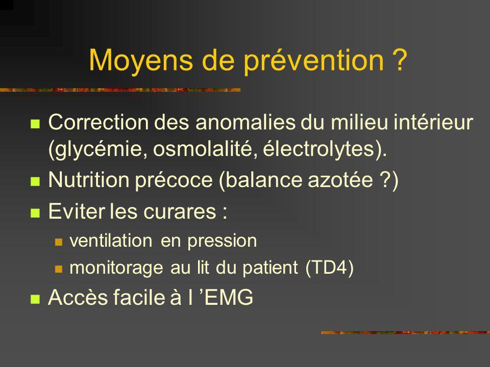 Moyens de prévention ? Correction des anomalies du milieu intérieur (glycémie, osmolalité, électrolytes). Nutrition précoce (balance azotée ?) Eviter