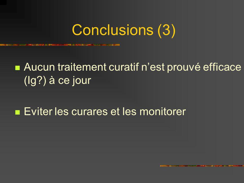 Conclusions (3) Aucun traitement curatif nest prouvé efficace (Ig?) à ce jour Eviter les curares et les monitorer