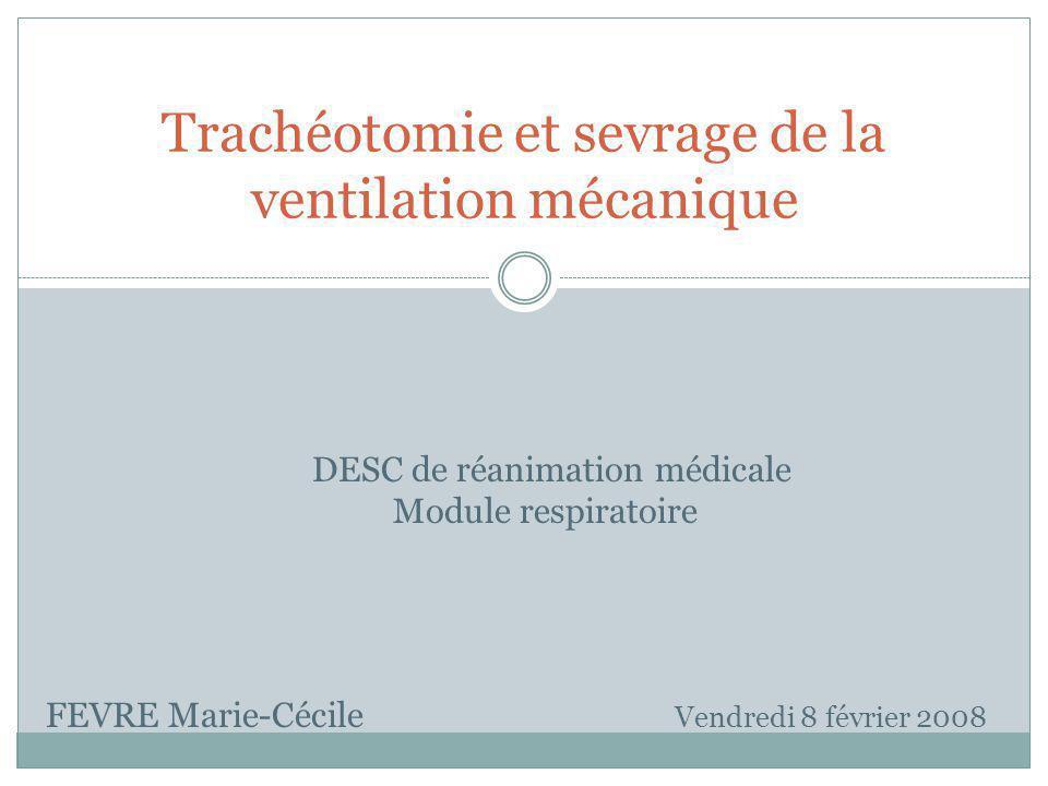 Trachéotomie et sevrage de la ventilation mécanique FEVRE Marie-Cécile Vendredi 8 février 2008 DESC de réanimation médicale Module respiratoire