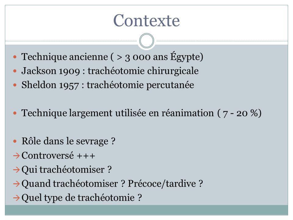 Contexte Technique ancienne ( > 3 000 ans Égypte) Jackson 1909 : trachéotomie chirurgicale Sheldon 1957 : trachéotomie percutanée Technique largement