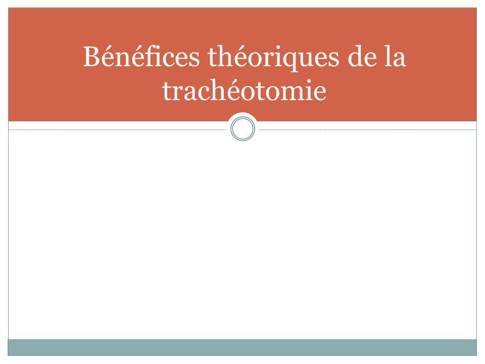 Bénéfices théoriques de la trachéotomie