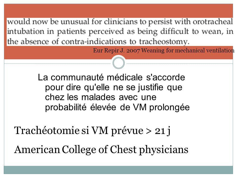 Eur Repir J. 2007 Weaning for mechanical ventilation Trachéotomie si VM prévue > 21 j American College of Chest physicians La communauté médicale s'ac