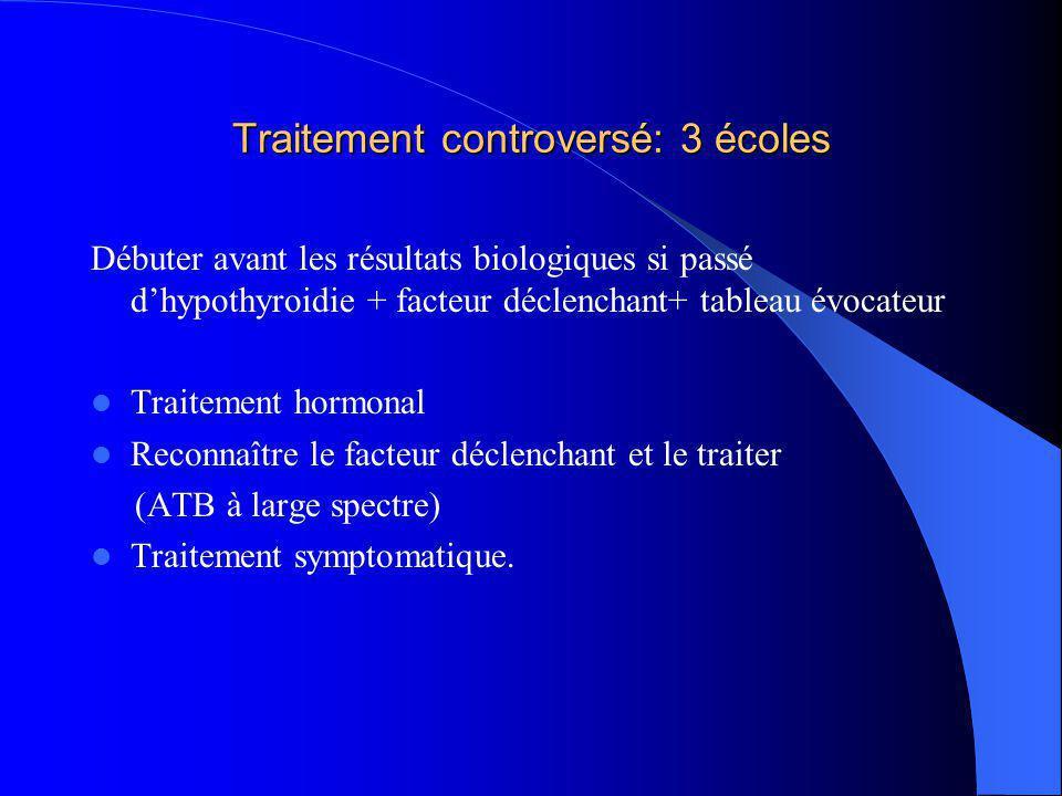 Traitement controversé: 3 écoles Débuter avant les résultats biologiques si passé dhypothyroidie + facteur déclenchant+ tableau évocateur Traitement h