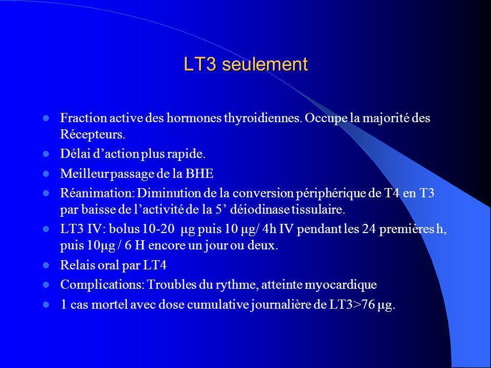 LT3 seulement Fraction active des hormones thyroidiennes. Occupe la majorité des Récepteurs. Délai daction plus rapide. Meilleur passage de la BHE Réa