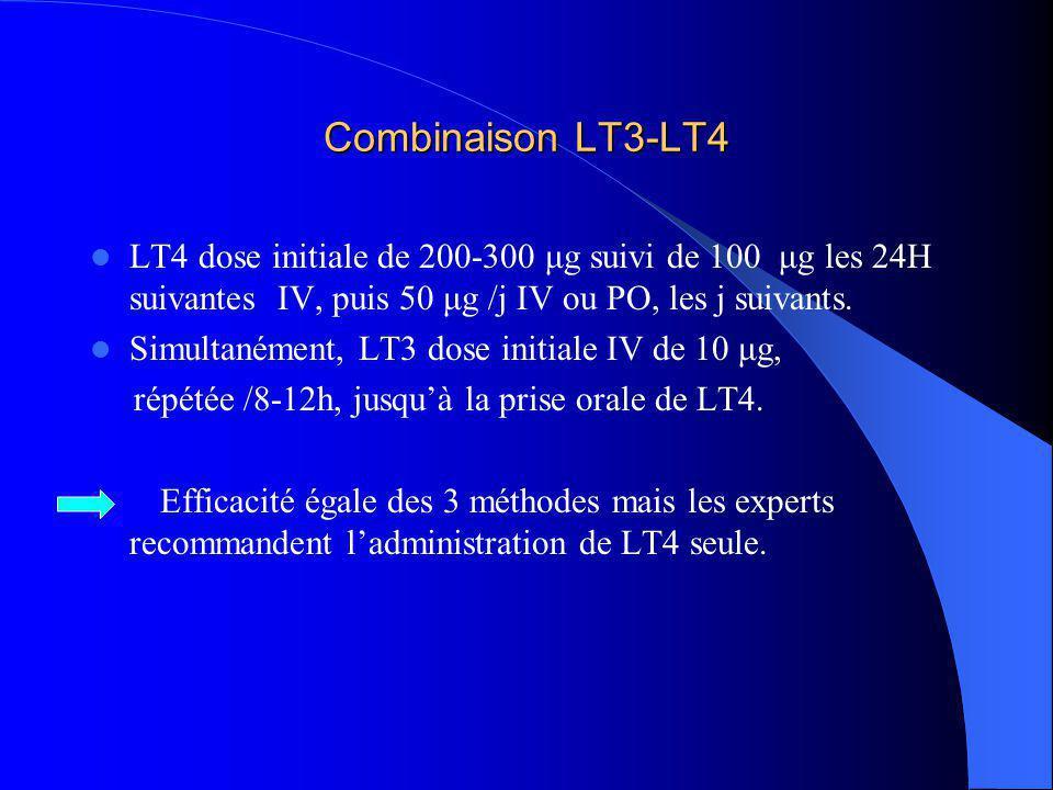 Combinaison LT3-LT4 LT4 dose initiale de 200-300 μg suivi de 100 μg les 24H suivantes IV, puis 50 μg /j IV ou PO, les j suivants. Simultanément, LT3 d