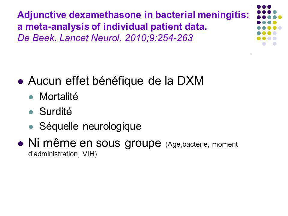 Adjunctive dexamethasone in bacterial meningitis: a meta-analysis of individual patient data. De Beek. Lancet Neurol. 2010;9:254-263 Aucun effet bénéf