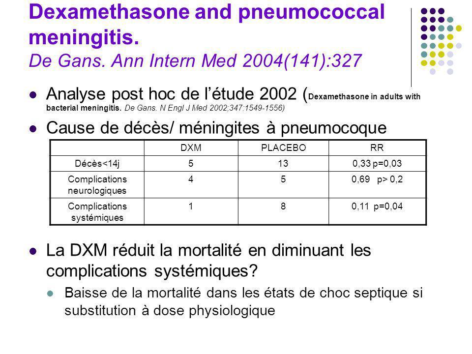Dexamethasone and pneumococcal meningitis. De Gans. Ann Intern Med 2004(141):327 Analyse post hoc de létude 2002 ( Dexamethasone in adults with bacter