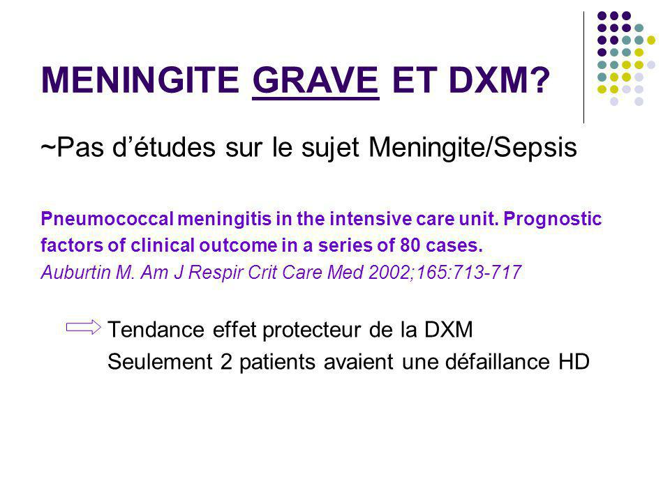 MENINGITE GRAVE ET DXM? ~Pas détudes sur le sujet Meningite/Sepsis Pneumococcal meningitis in the intensive care unit. Prognostic factors of clinical