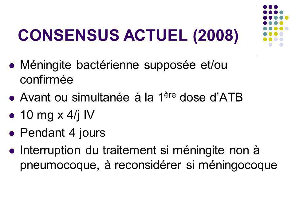 CONSENSUS ACTUEL (2008) Méningite bactérienne supposée et/ou confirmée Avant ou simultanée à la 1 ère dose dATB 10 mg x 4/j IV Pendant 4 jours Interru