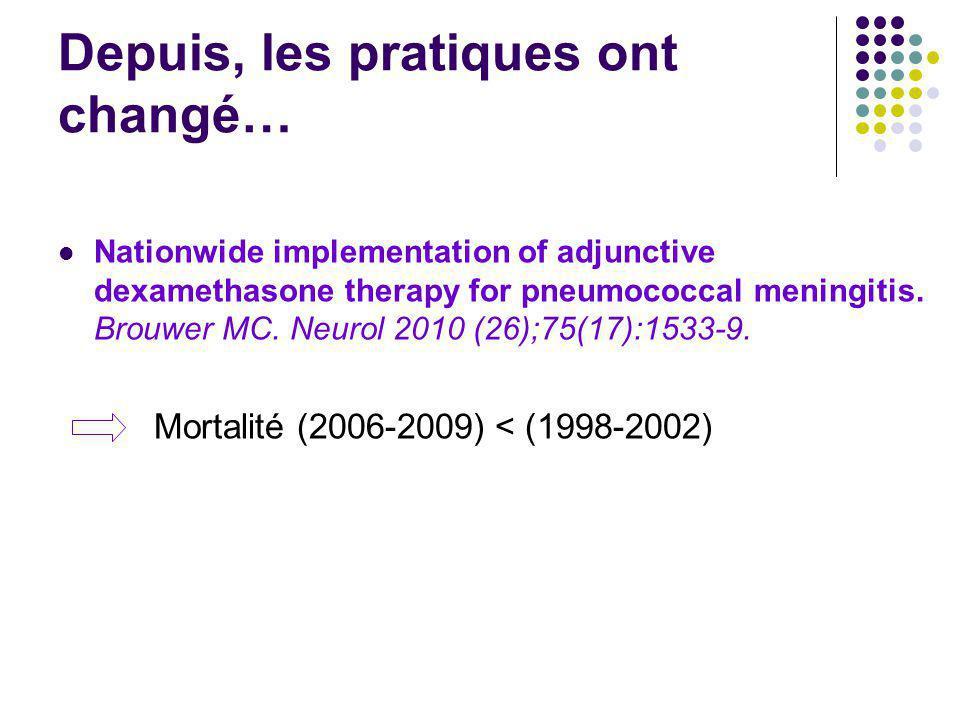 Depuis, les pratiques ont changé… Nationwide implementation of adjunctive dexamethasone therapy for pneumococcal meningitis. Brouwer MC. Neurol 2010 (