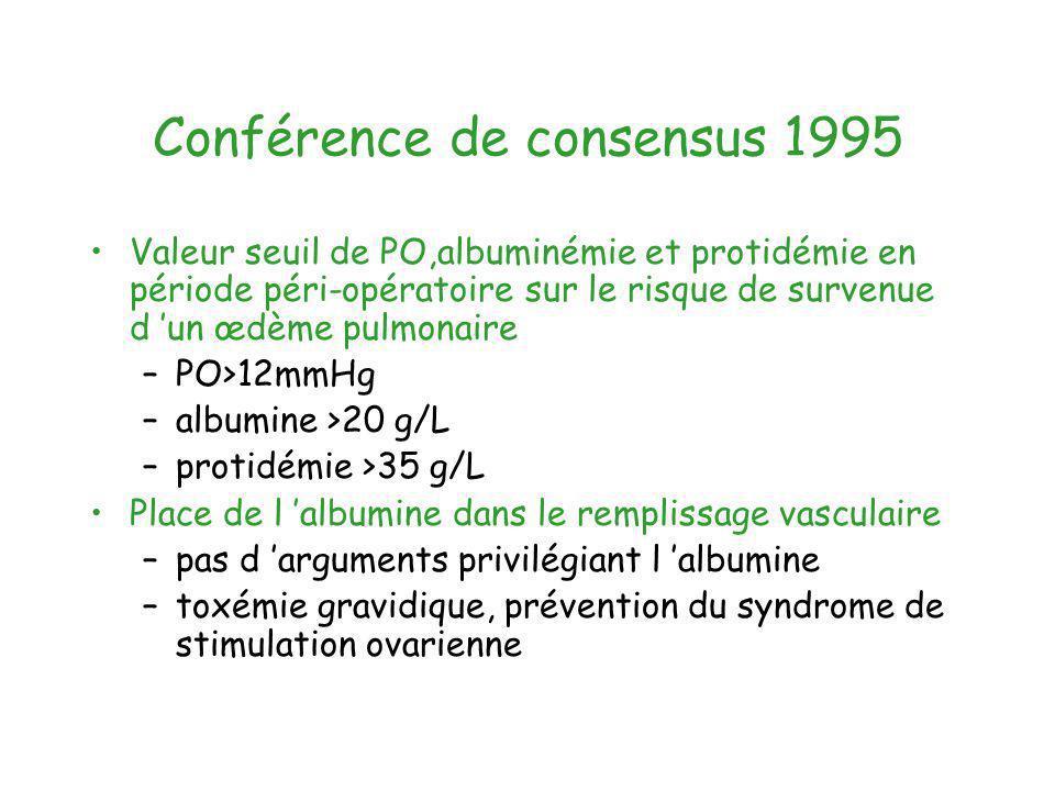 Conférence de consensus 1995 Valeur seuil de PO,albuminémie et protidémie en période péri-opératoire sur le risque de survenue d un œdème pulmonaire –