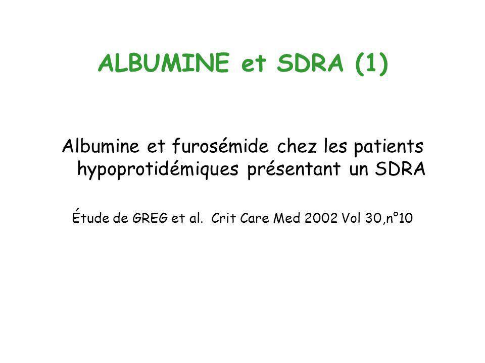 ALBUMINE et SDRA (1) Albumine et furosémide chez les patients hypoprotidémiques présentant un SDRA Étude de GREG et al. Crit Care Med 2002 Vol 30,n°10