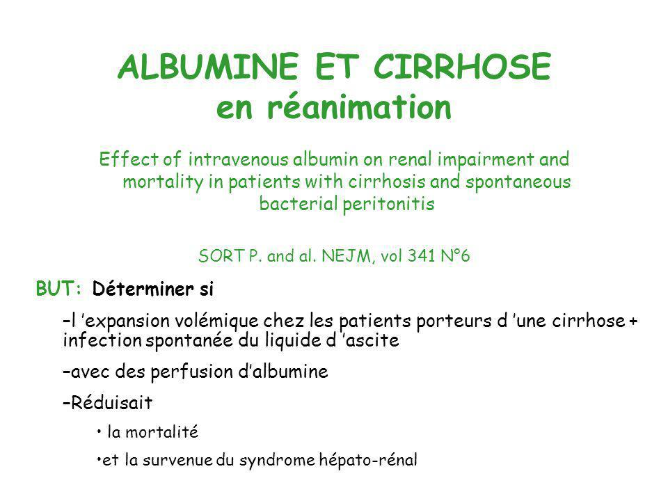 ALBUMINE ET CIRRHOSE en réanimation Effect of intravenous albumin on renal impairment and mortality in patients with cirrhosis and spontaneous bacteri