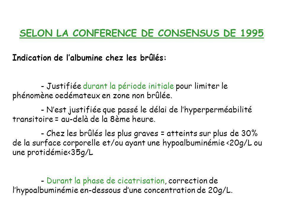 SELON LA CONFERENCE DE CONSENSUS DE 1995 Indication de lalbumine chez les brûlés: - Justifiée durant la période initiale pour limiter le phénomène oed