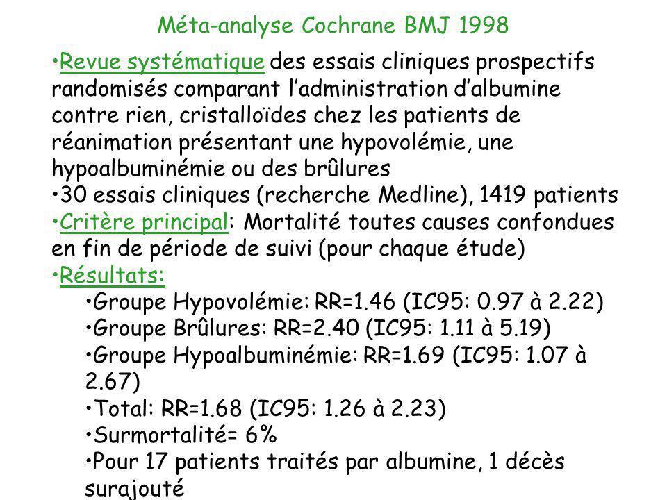 Méta-analyse Cochrane BMJ 1998 Revue systématique des essais cliniques prospectifs randomisés comparant ladministration dalbumine contre rien, cristal