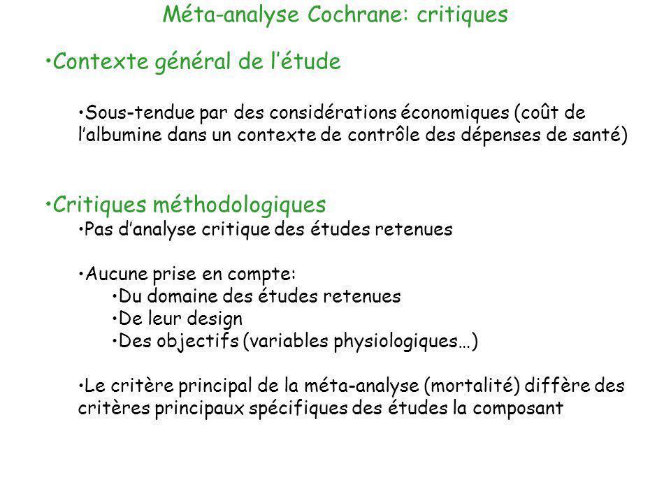Méta-analyse Cochrane: critiques Contexte général de létude Sous-tendue par des considérations économiques (coût de lalbumine dans un contexte de cont