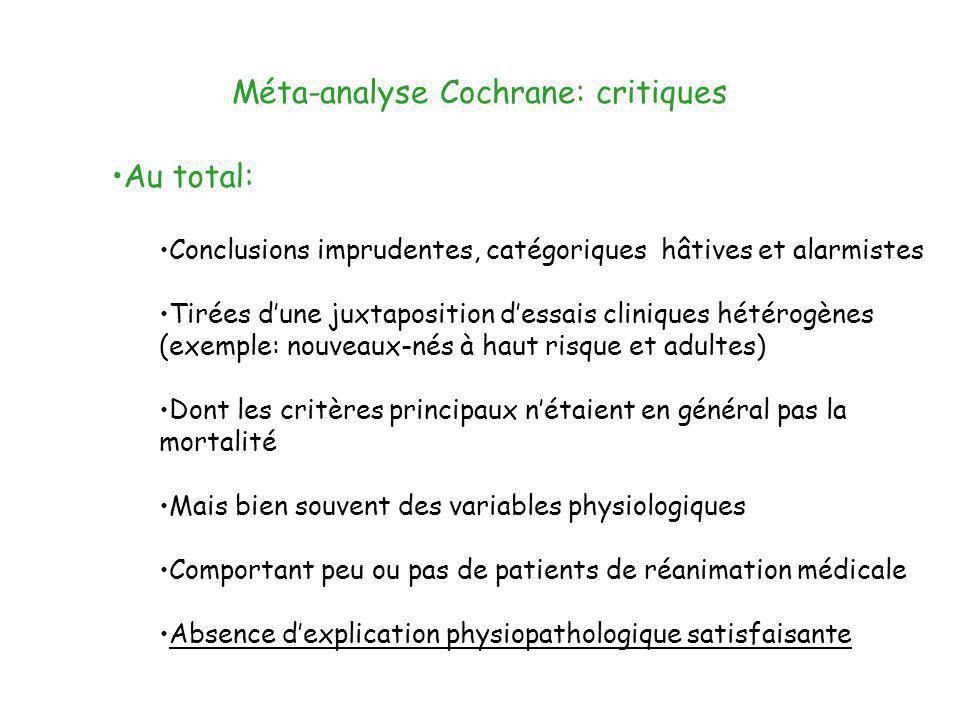 Méta-analyse Cochrane: critiques Au total: Conclusions imprudentes, catégoriques hâtives et alarmistes Tirées dune juxtaposition dessais cliniques hét