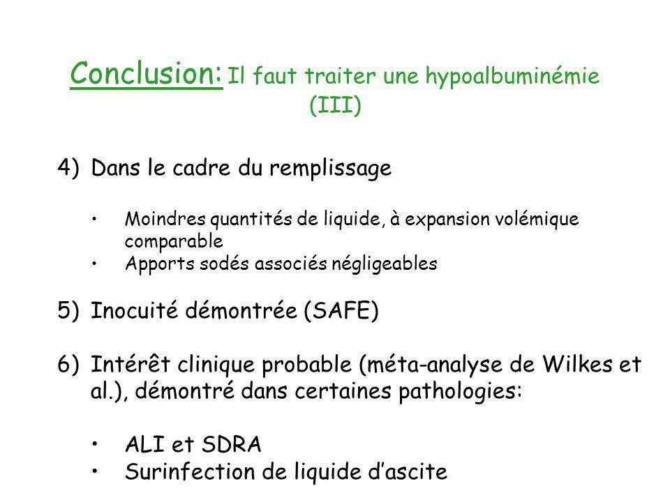 Conclusion: Il faut traiter une hypoalbuminémie (III) 4)Dans le cadre du remplissage Moindres quantités de liquide, à expansion volémique comparable A